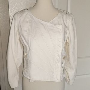 .Anthropologie. CHORD Ivory and Gold Moto Jacket